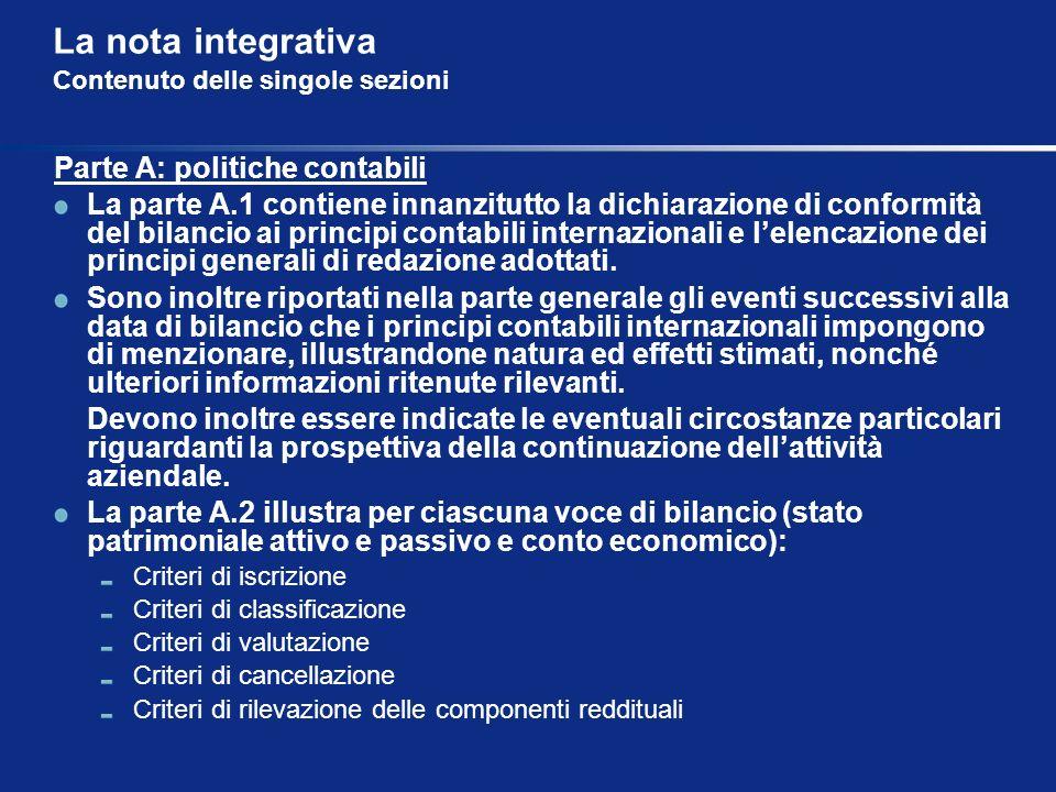 La nota integrativa Contenuto delle singole sezioni Parte A: politiche contabili La parte A.1 contiene innanzitutto la dichiarazione di conformità del