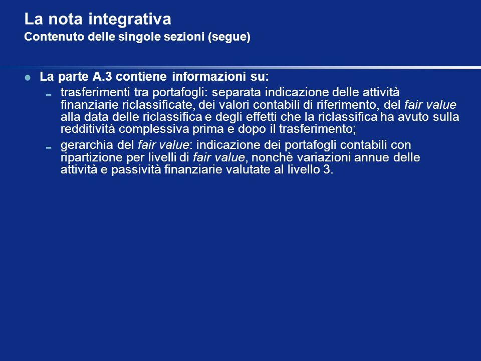 La nota integrativa Contenuto delle singole sezioni (segue) La parte A.3 contiene informazioni su: trasferimenti tra portafogli: separata indicazione