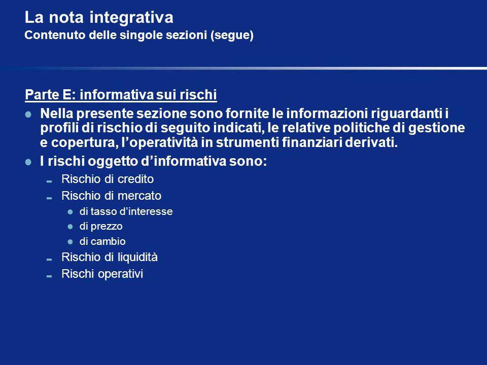 La nota integrativa Contenuto delle singole sezioni (segue) Parte E: informativa sui rischi Nella presente sezione sono fornite le informazioni riguar
