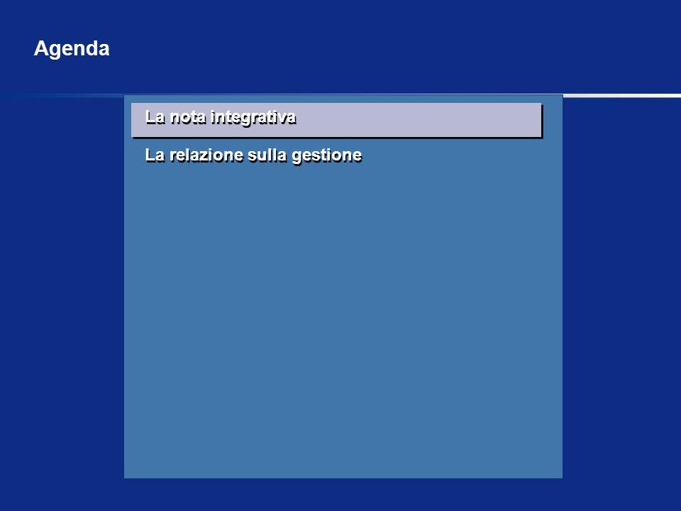 La nota integrativa La relazione sulla gestione La nota integrativa La relazione sulla gestione Agenda