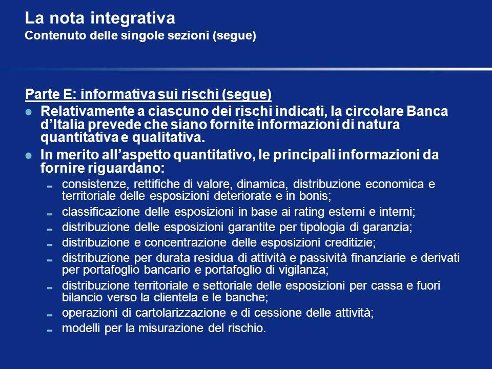 La nota integrativa Contenuto delle singole sezioni (segue) Parte E: informativa sui rischi (segue) Relativamente a ciascuno dei rischi indicati, la c