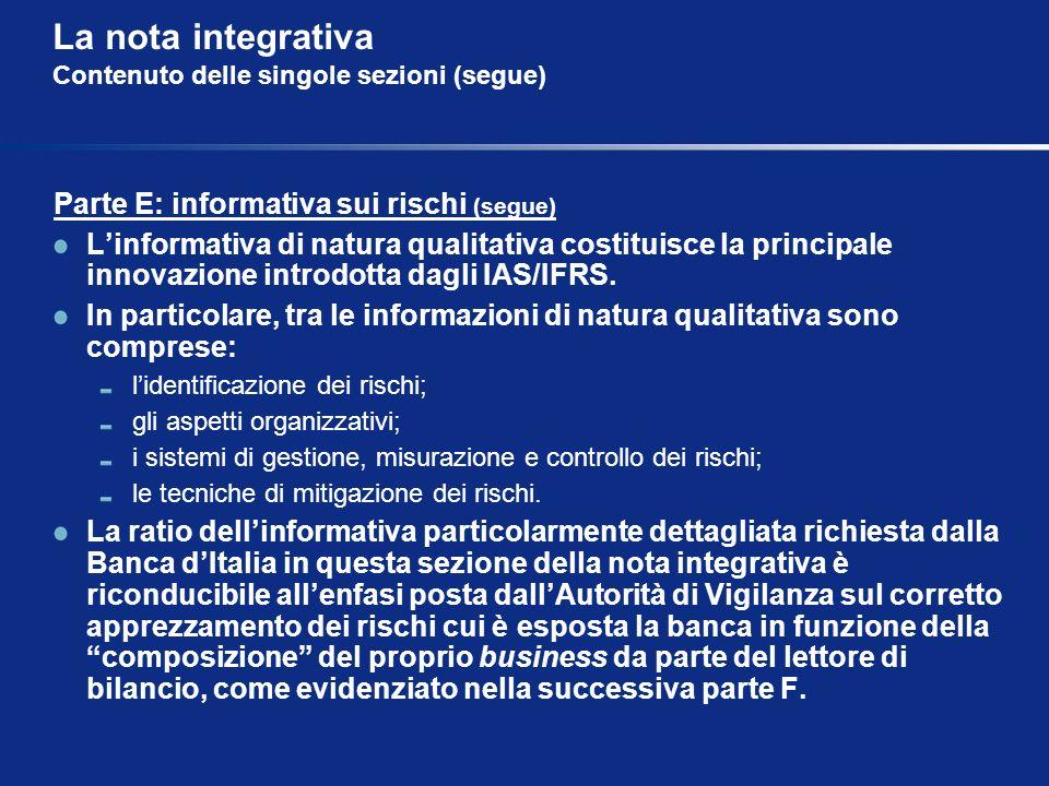 La nota integrativa Contenuto delle singole sezioni (segue) Parte E: informativa sui rischi (segue) Linformativa di natura qualitativa costituisce la