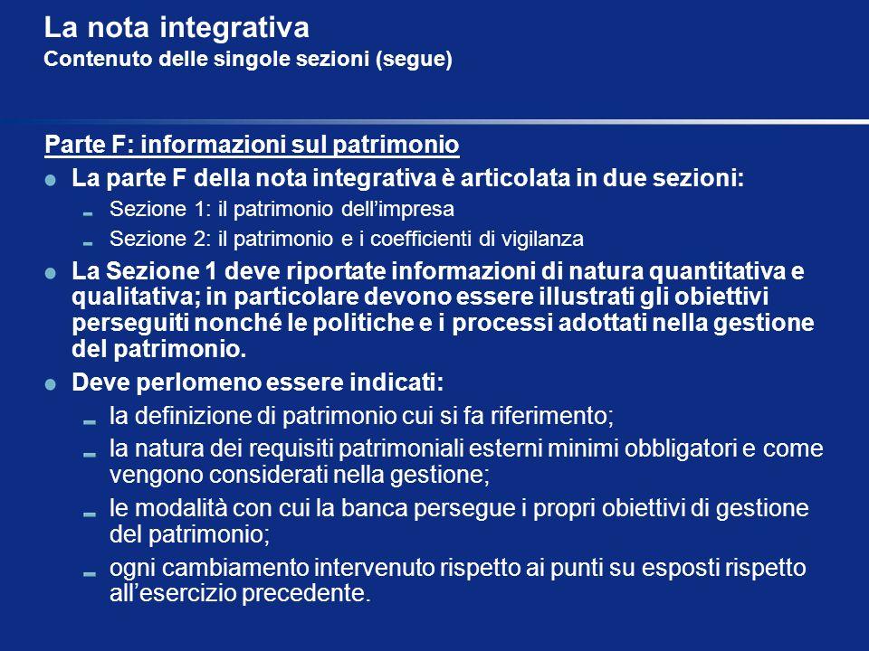 La nota integrativa Contenuto delle singole sezioni (segue) Parte F: informazioni sul patrimonio La parte F della nota integrativa è articolata in due