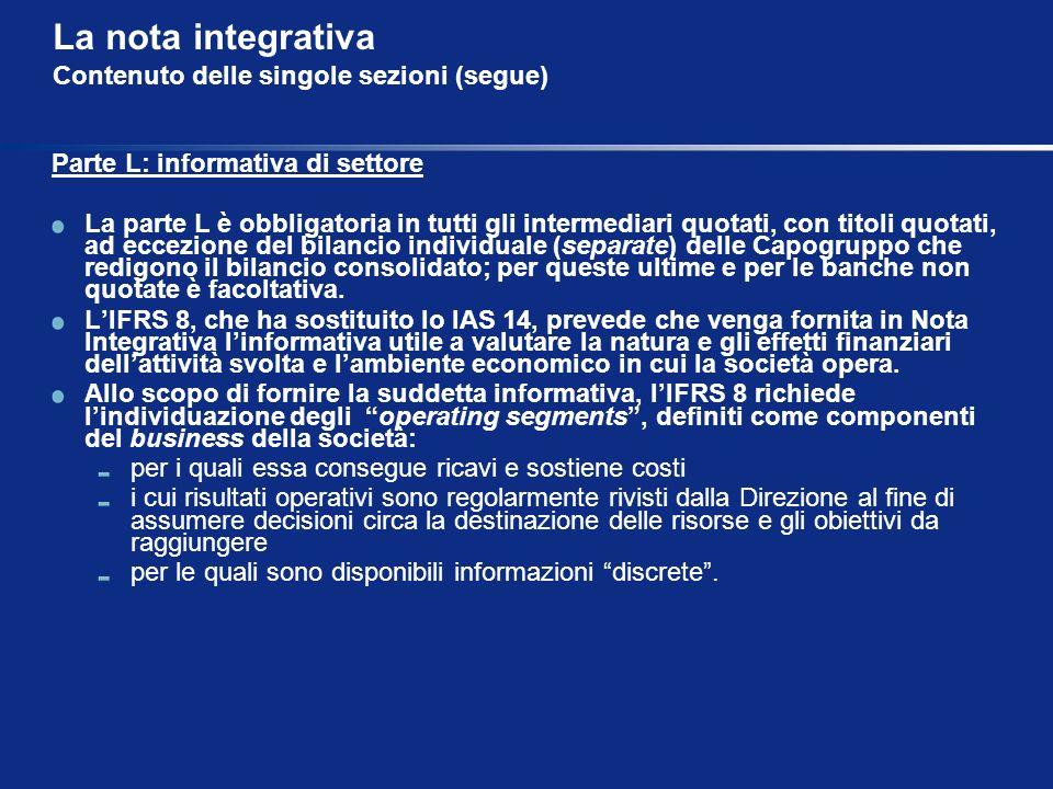 La nota integrativa Contenuto delle singole sezioni (segue) Parte L: informativa di settore La parte L è obbligatoria in tutti gli intermediari quotat