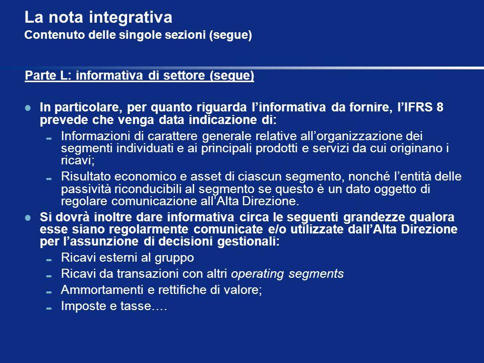 La nota integrativa Contenuto delle singole sezioni (segue) Parte L: informativa di settore (segue) In particolare, per quanto riguarda linformativa d