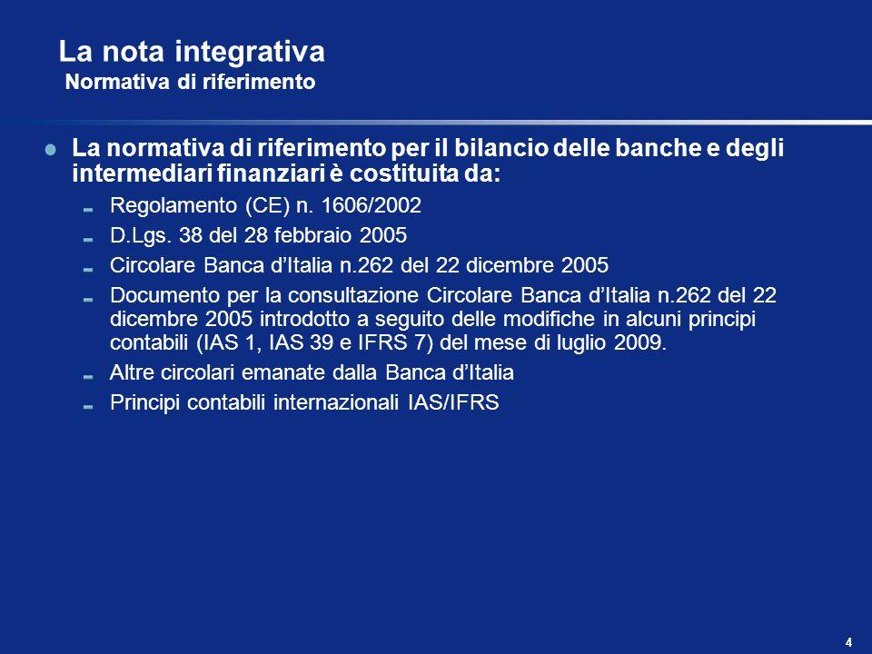 4 La normativa di riferimento per il bilancio delle banche e degli intermediari finanziari è costituita da: Regolamento (CE) n. 1606/2002 D.Lgs. 38 de