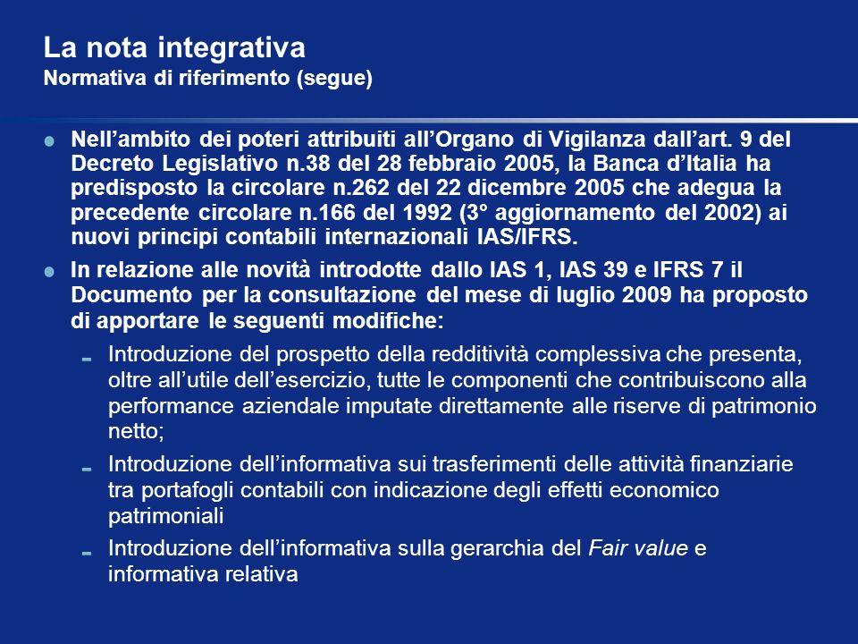 La nota integrativa Normativa di riferimento (segue) Nellambito dei poteri attribuiti allOrgano di Vigilanza dallart. 9 del Decreto Legislativo n.38 d