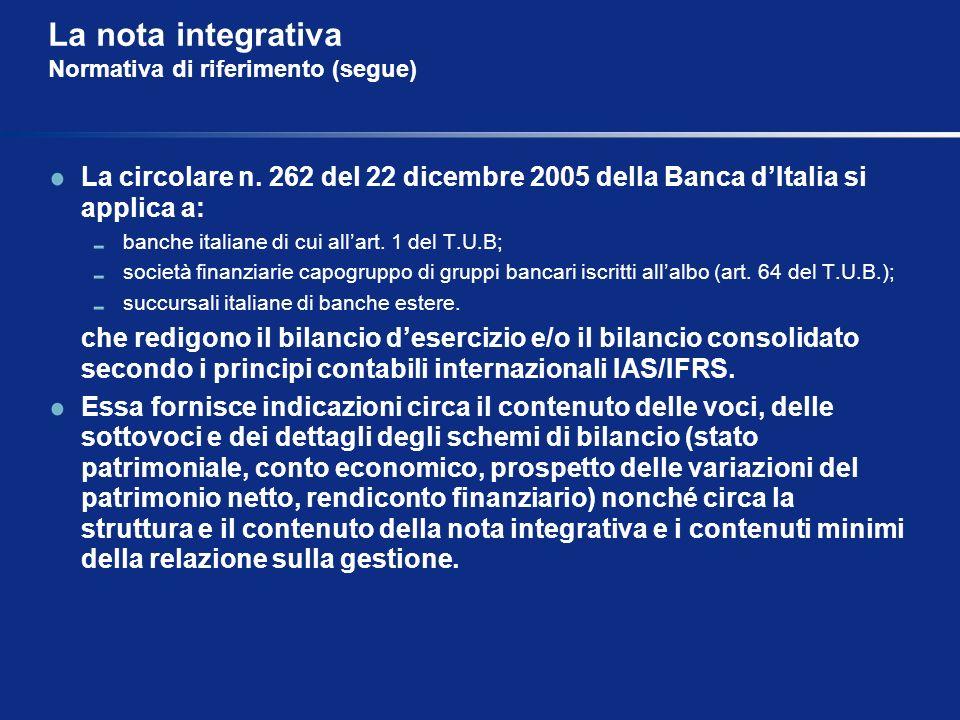 La nota integrativa Normativa di riferimento (segue) La circolare n. 262 del 22 dicembre 2005 della Banca dItalia si applica a: banche italiane di cui