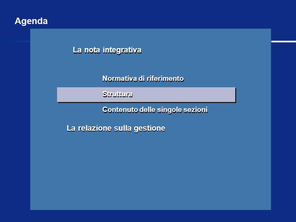 La relazione sulla gestione La nota integrativa Normativa di riferimento Struttura Contenuto delle singole sezioni La nota integrativa Normativa di ri