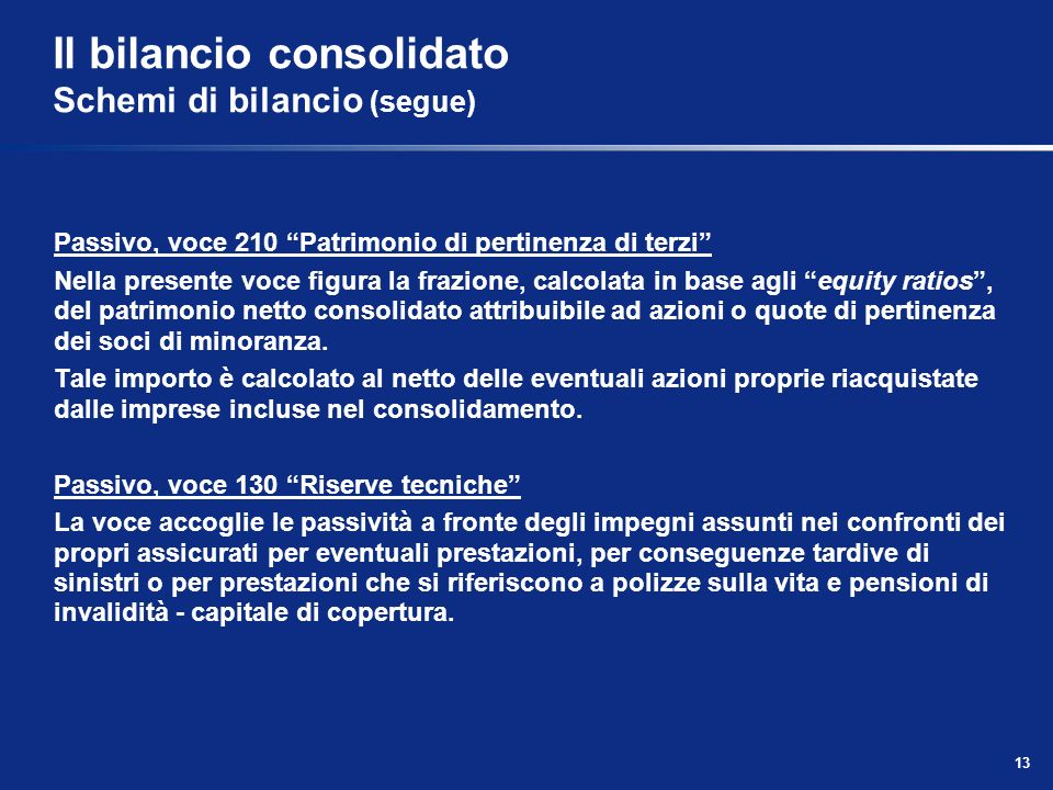 13 Il bilancio consolidato Schemi di bilancio (segue) Passivo, voce 210 Patrimonio di pertinenza di terzi Nella presente voce figura la frazione, calc