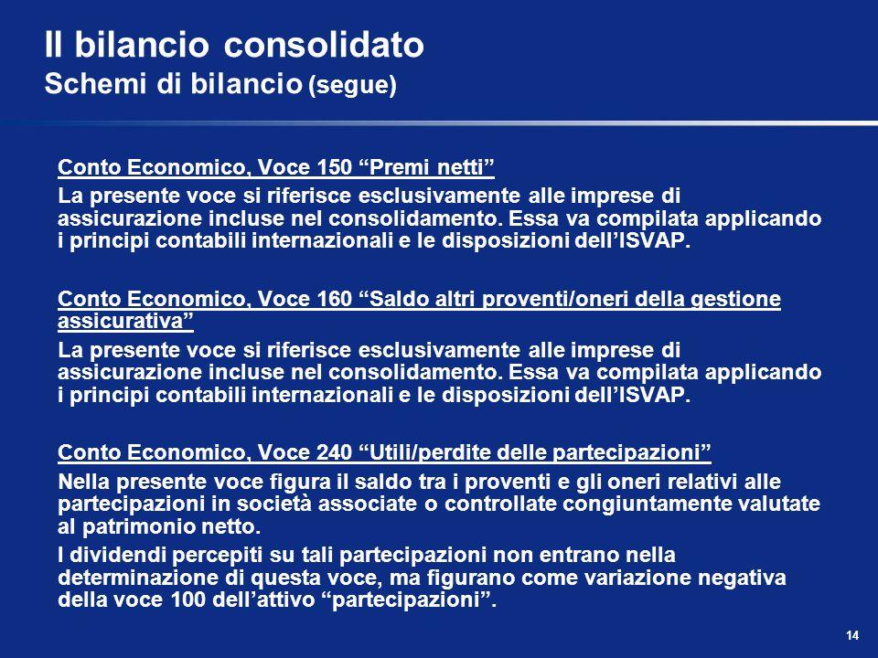 14 Il bilancio consolidato Schemi di bilancio (segue) Conto Economico, Voce 150 Premi netti La presente voce si riferisce esclusivamente alle imprese