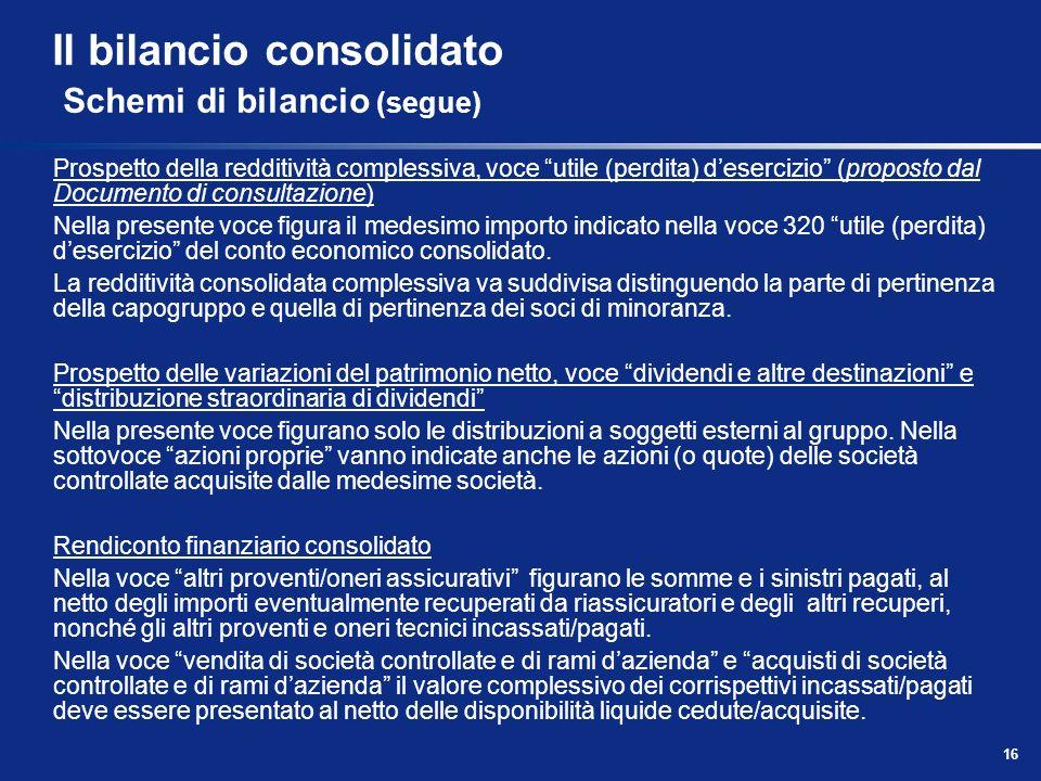 16 Il bilancio consolidato Schemi di bilancio (segue) Prospetto della redditività complessiva, voce utile (perdita) desercizio (proposto dal Documento