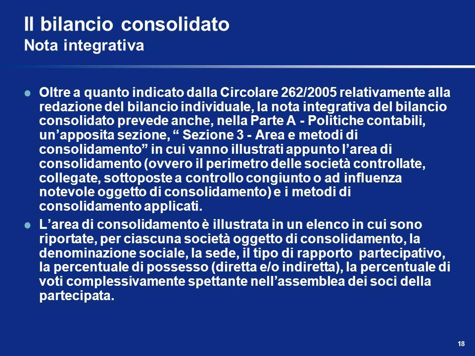 18 Il bilancio consolidato Nota integrativa Oltre a quanto indicato dalla Circolare 262/2005 relativamente alla redazione del bilancio individuale, la