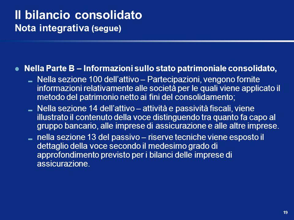 19 Il bilancio consolidato Nota integrativa (segue) Nella Parte B – Informazioni sullo stato patrimoniale consolidato, Nella sezione 100 dellattivo –