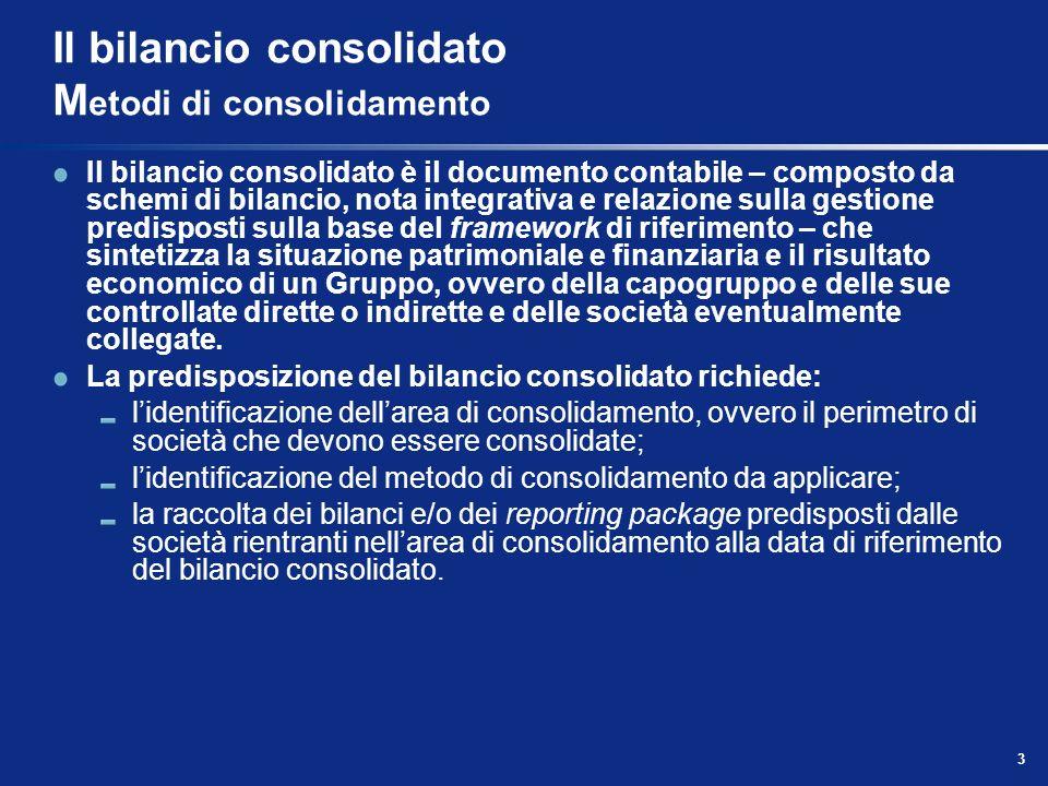 3 Il bilancio consolidato M etodi di consolidamento Il bilancio consolidato è il documento contabile – composto da schemi di bilancio, nota integrativ