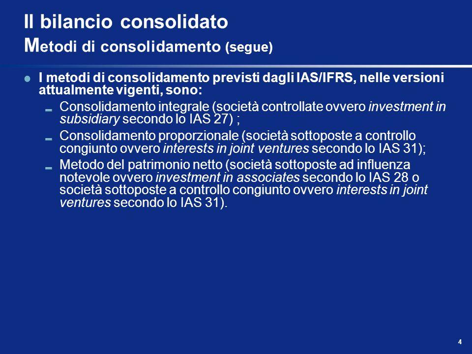 4 Il bilancio consolidato M etodi di consolidamento (segue) I metodi di consolidamento previsti dagli IAS/IFRS, nelle versioni attualmente vigenti, so
