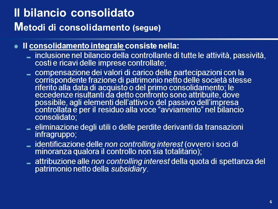 6 Il bilancio consolidato M etodi di consolidamento (segue) Il consolidamento integrale consiste nella: inclusione nel bilancio della controllante di