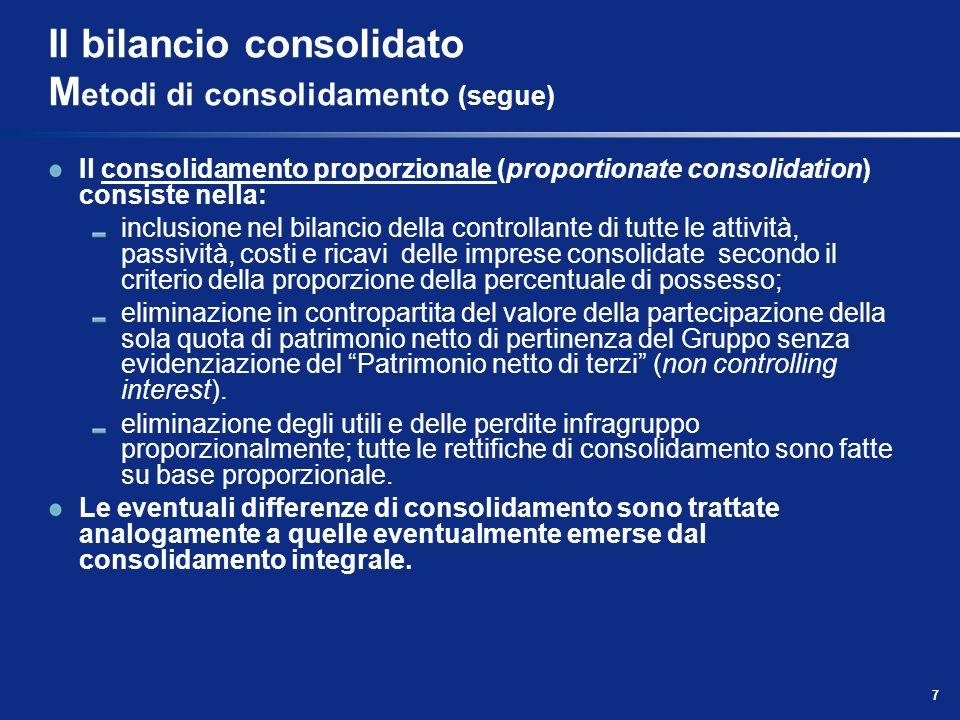 7 Il bilancio consolidato M etodi di consolidamento (segue) Il consolidamento proporzionale (proportionate consolidation) consiste nella: inclusione n