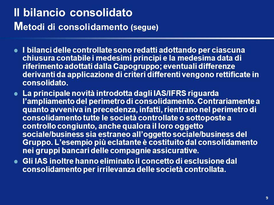 9 Il bilancio consolidato M etodi di consolidamento (segue) I bilanci delle controllate sono redatti adottando per ciascuna chiusura contabile i medes