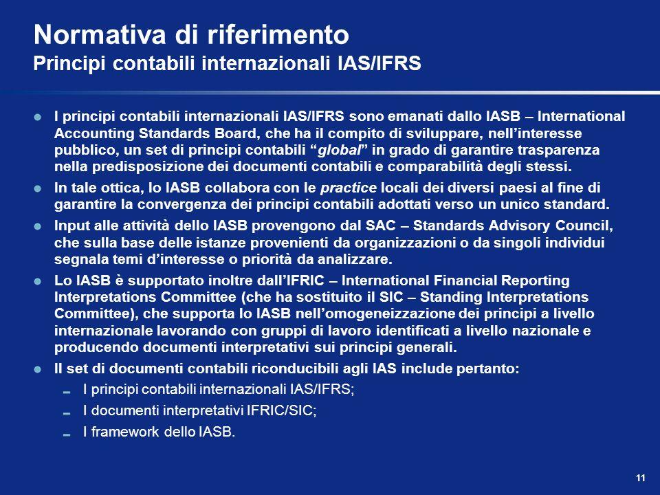 11 Normativa di riferimento Principi contabili internazionali IAS/IFRS I principi contabili internazionali IAS/IFRS sono emanati dallo IASB – International Accounting Standards Board, che ha il compito di sviluppare, nellinteresse pubblico, un set di principi contabili global in grado di garantire trasparenza nella predisposizione dei documenti contabili e comparabilità degli stessi.
