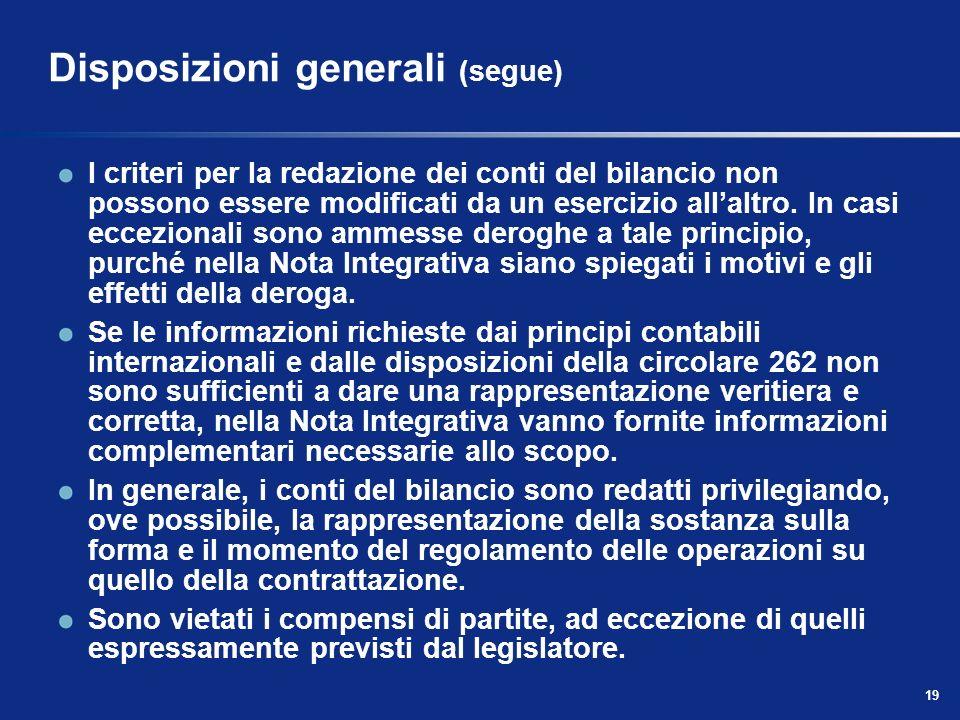 19 Disposizioni generali (segue) I criteri per la redazione dei conti del bilancio non possono essere modificati da un esercizio allaltro.