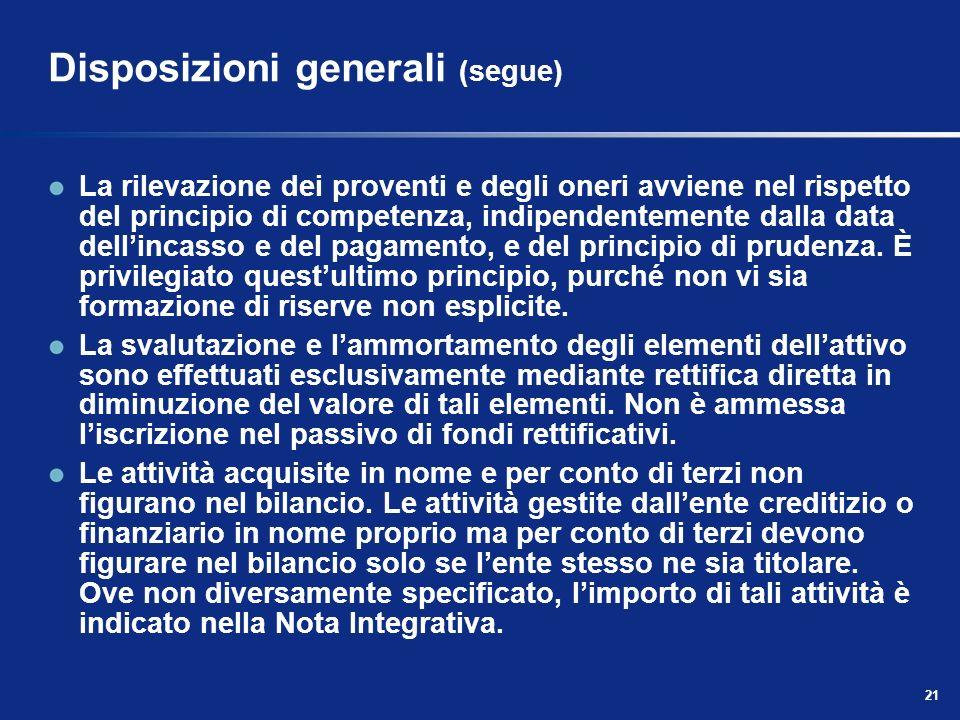 21 Disposizioni generali (segue) La rilevazione dei proventi e degli oneri avviene nel rispetto del principio di competenza, indipendentemente dalla data dellincasso e del pagamento, e del principio di prudenza.