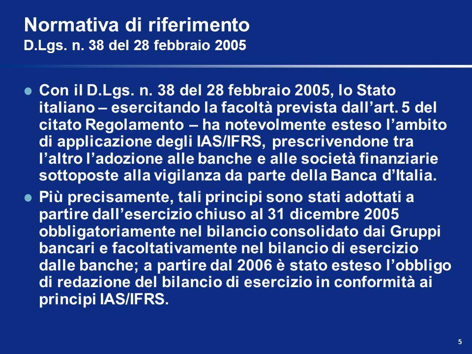 5 Normativa di riferimento D.Lgs.n. 38 del 28 febbraio 2005 Con il D.Lgs.