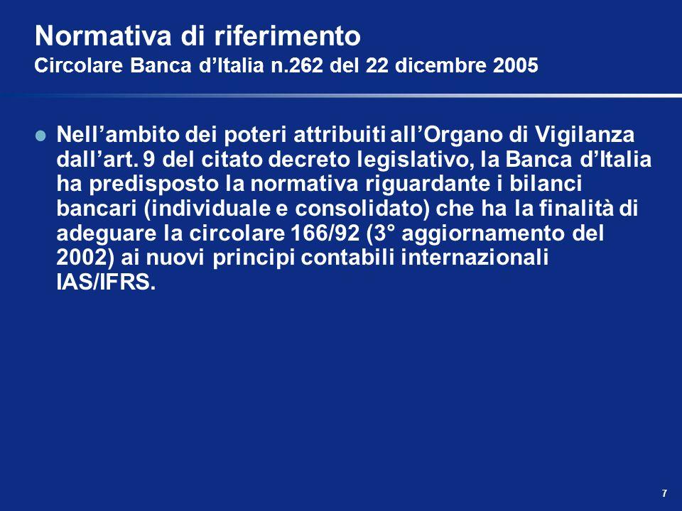 7 Normativa di riferimento Circolare Banca dItalia n.262 del 22 dicembre 2005 Nellambito dei poteri attribuiti allOrgano di Vigilanza dallart.