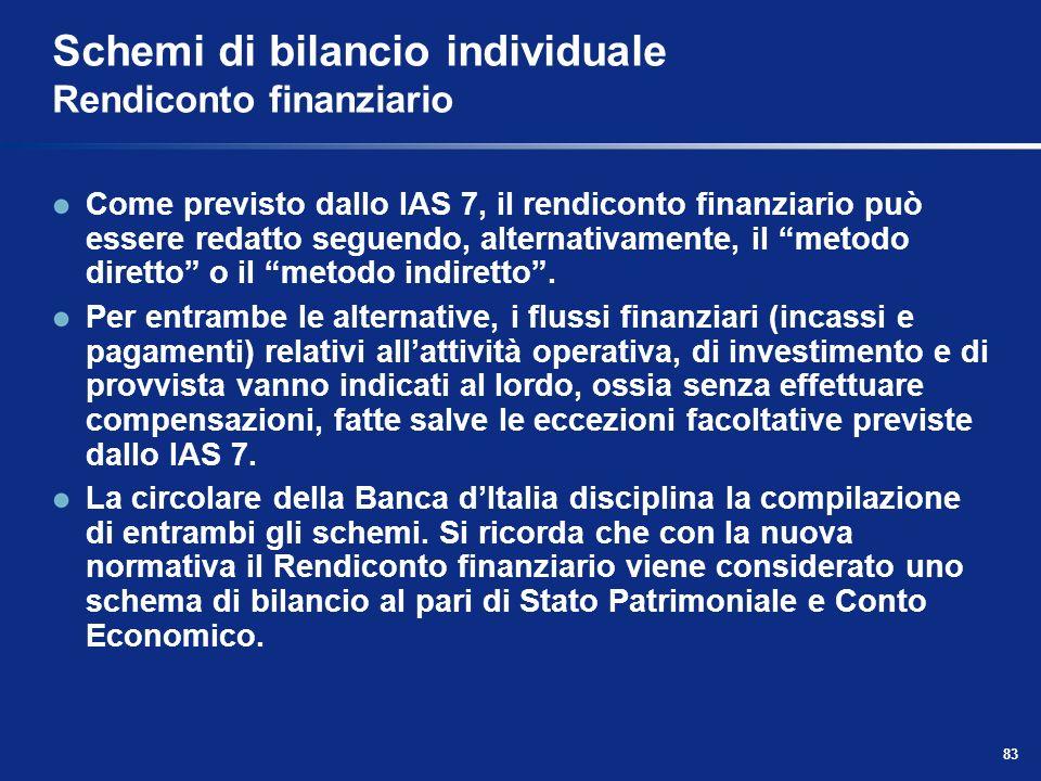 83 Schemi di bilancio individuale Rendiconto finanziario Come previsto dallo IAS 7, il rendiconto finanziario può essere redatto seguendo, alternativamente, il metodo diretto o il metodo indiretto.