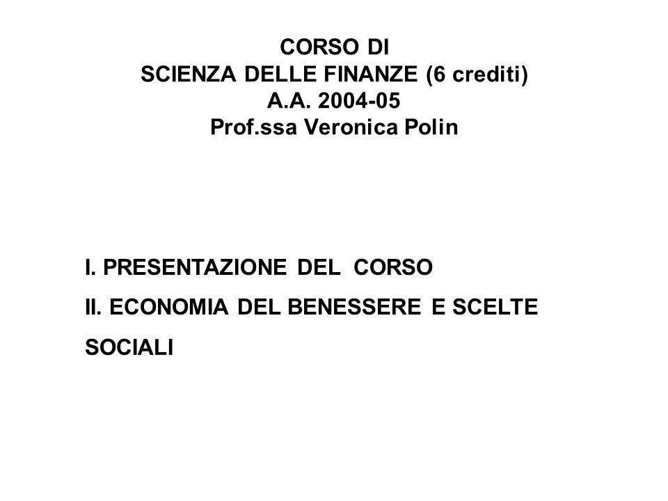 Lezione 1 I.PRESENTAZIONE DEL CORSO 1. Che cosè la Scienza delle finanze 2.
