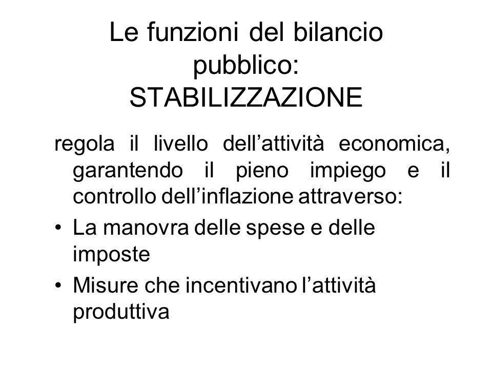 Le funzioni del bilancio pubblico: STABILIZZAZIONE regola il livello dellattività economica, garantendo il pieno impiego e il controllo dellinflazione attraverso: La manovra delle spese e delle imposte Misure che incentivano lattività produttiva