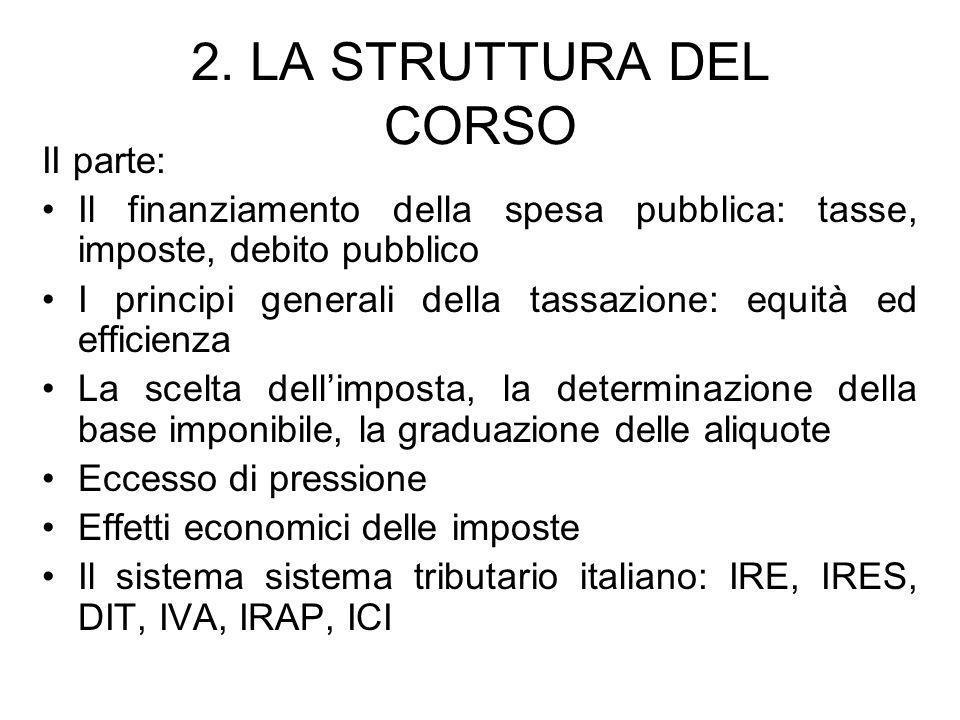 2. LA STRUTTURA DEL CORSO II parte: Il finanziamento della spesa pubblica: tasse, imposte, debito pubblico I principi generali della tassazione: equit