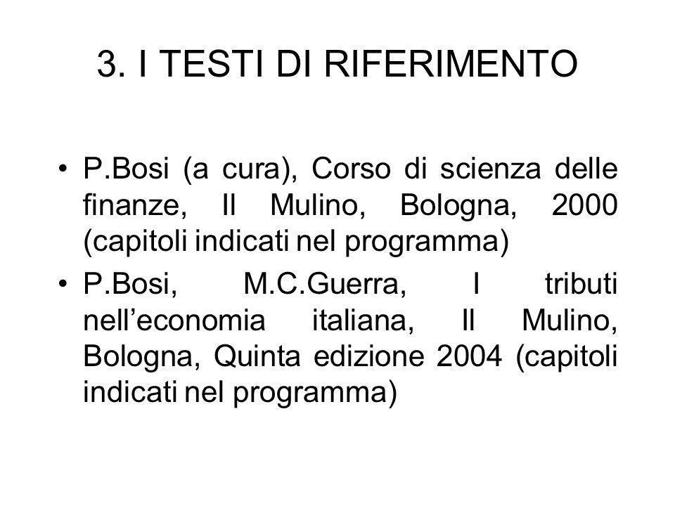 3. I TESTI DI RIFERIMENTO P.Bosi (a cura), Corso di scienza delle finanze, Il Mulino, Bologna, 2000 (capitoli indicati nel programma) P.Bosi, M.C.Guer