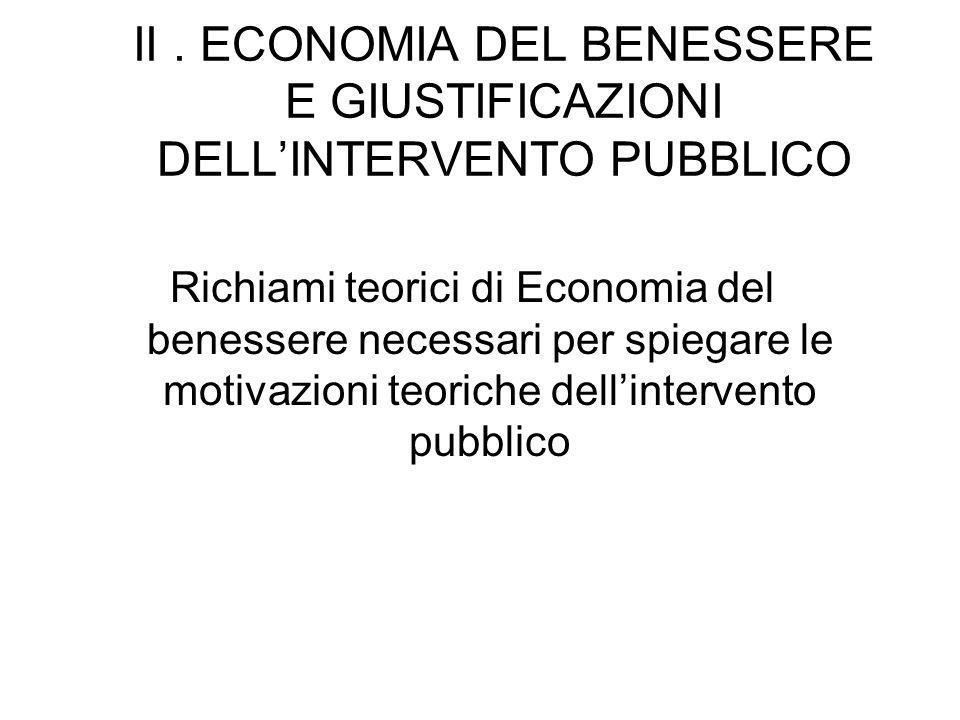 II. ECONOMIA DEL BENESSERE E GIUSTIFICAZIONI DELLINTERVENTO PUBBLICO Richiami teorici di Economia del benessere necessari per spiegare le motivazioni