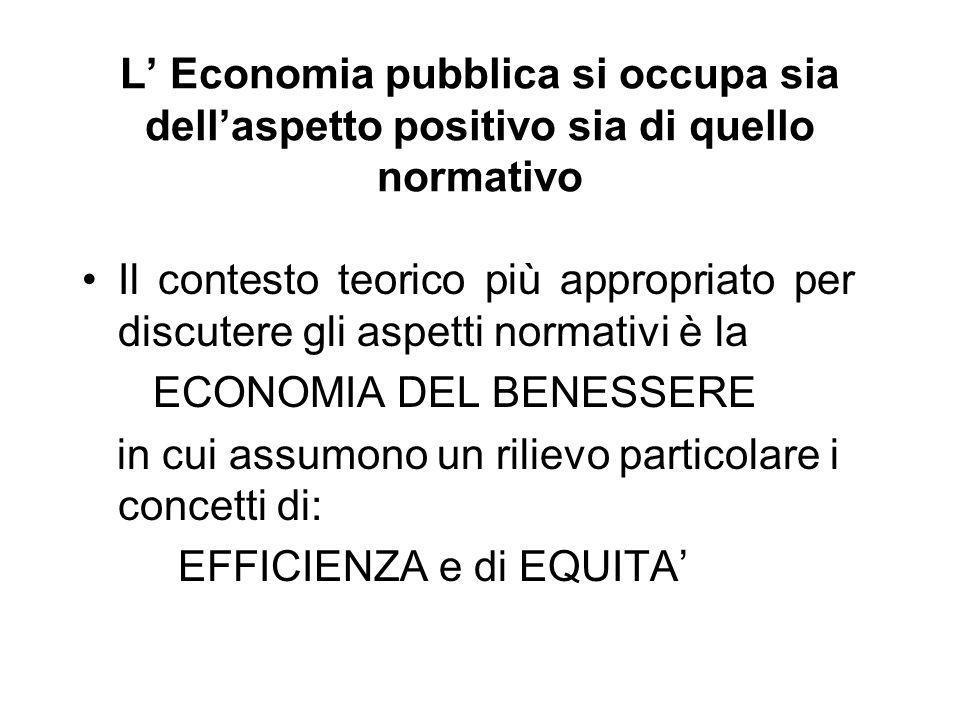 L Economia pubblica si occupa sia dellaspetto positivo sia di quello normativo Il contesto teorico più appropriato per discutere gli aspetti normativi è la ECONOMIA DEL BENESSERE in cui assumono un rilievo particolare i concetti di: EFFICIENZA e di EQUITA
