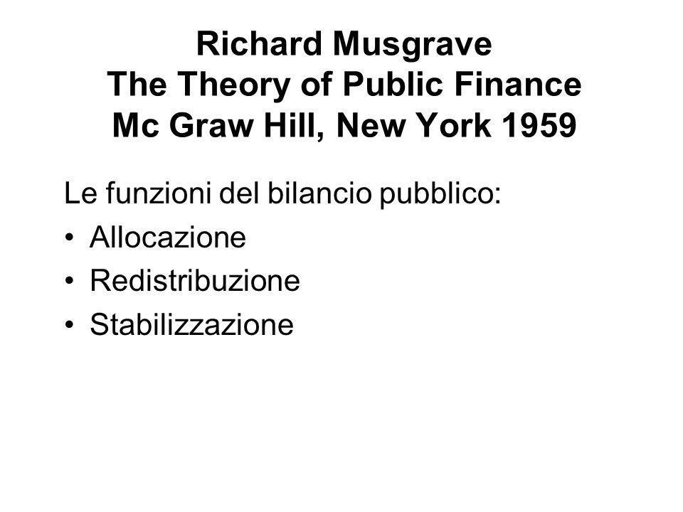 Richard Musgrave The Theory of Public Finance Mc Graw Hill, New York 1959 Le funzioni del bilancio pubblico: Allocazione Redistribuzione Stabilizzazione