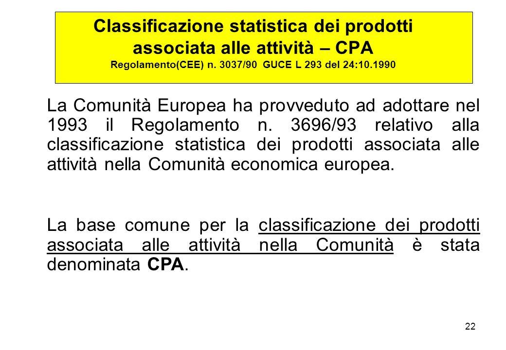 22 La Comunità Europea ha provveduto ad adottare nel 1993 il Regolamento n.