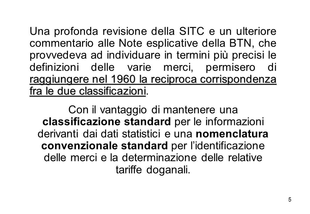 5 raggiungere nel 1960 la reciproca corrispondenza fra le due classificazioni Una profonda revisione della SITC e un ulteriore commentario alle Note esplicative della BTN, che provvedeva ad individuare in termini più precisi le definizioni delle varie merci, permisero di raggiungere nel 1960 la reciproca corrispondenza fra le due classificazioni.