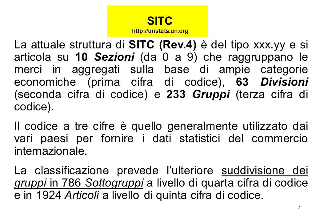 7 La attuale struttura di SITC (Rev.4) è del tipo xxx.yy e si articola su 10 Sezioni (da 0 a 9) che raggruppano le merci in aggregati sulla base di ampie categorie economiche (prima cifra di codice), 63 Divisioni (seconda cifra di codice) e 233 Gruppi (terza cifra di codice).