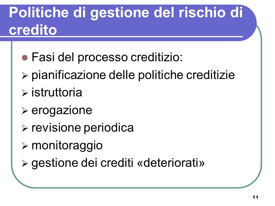 11 Politiche di gestione del rischio di credito Fasi del processo creditizio: pianificazione delle politiche creditizie istruttoria erogazione revisio