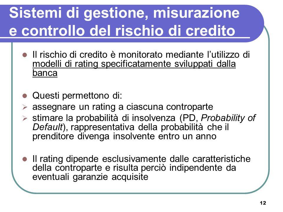 12 Sistemi di gestione, misurazione e controllo del rischio di credito Il rischio di credito è monitorato mediante lutilizzo di modelli di rating spec