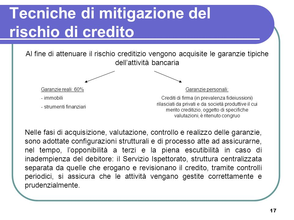 17 Tecniche di mitigazione del rischio di credito Al fine di attenuare il rischio creditizio vengono acquisite le garanzie tipiche dellattività bancar