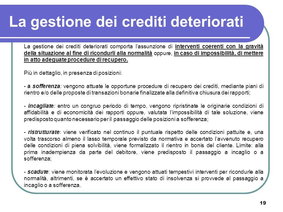 19 La gestione dei crediti deteriorati La gestione dei crediti deteriorati comporta lassunzione di interventi coerenti con la gravità della situazione