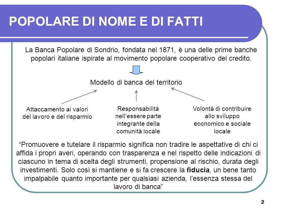 2 POPOLARE DI NOME E DI FATTI La Banca Popolare di Sondrio, fondata nel 1871, è una delle prime banche popolari italiane ispirate al movimento popolar
