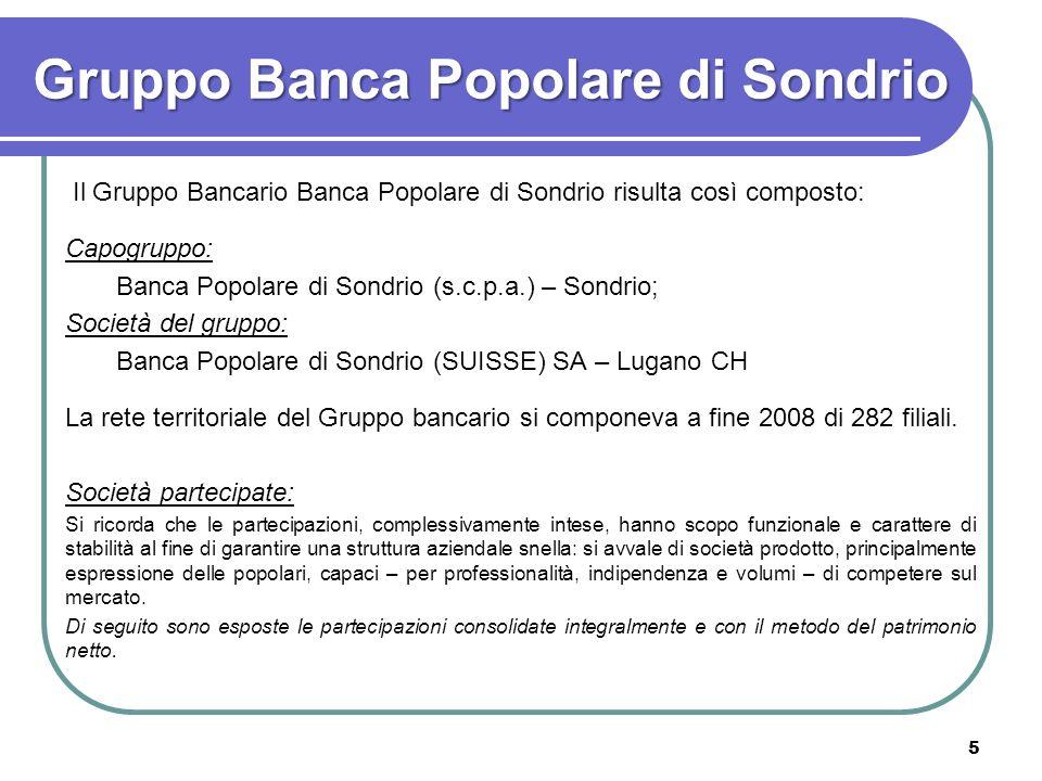 5 Gruppo Banca Popolare di Sondrio Il Gruppo Bancario Banca Popolare di Sondrio risulta così composto: Capogruppo: Banca Popolare di Sondrio (s.c.p.a.