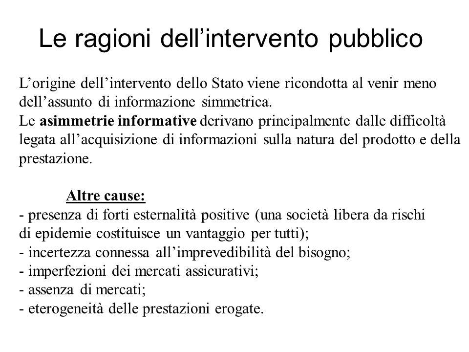 Lorigine dellintervento dello Stato viene ricondotta al venir meno dellassunto di informazione simmetrica.