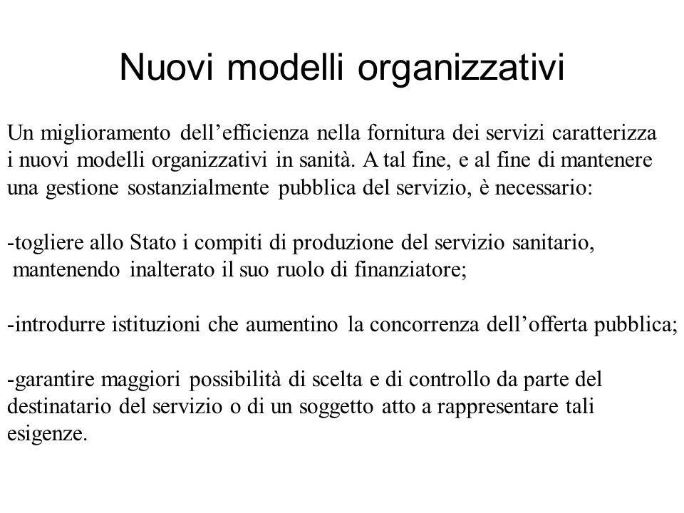 Nuovi modelli organizzativi Un miglioramento dellefficienza nella fornitura dei servizi caratterizza i nuovi modelli organizzativi in sanità.