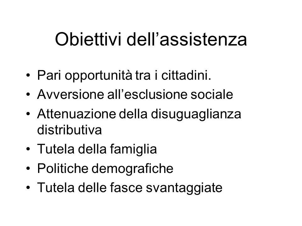 Obiettivi dellassistenza Pari opportunità tra i cittadini.