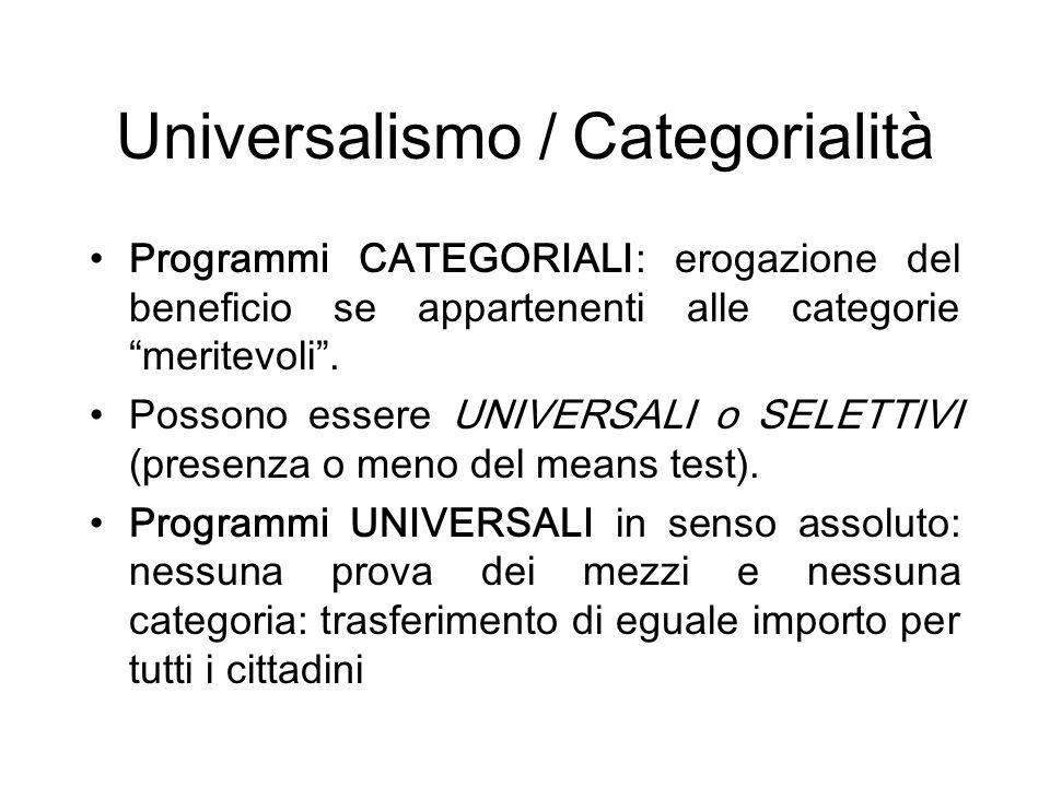 Universalismo / Categorialità Programmi CATEGORIALI: erogazione del beneficio se appartenenti alle categorie meritevoli.