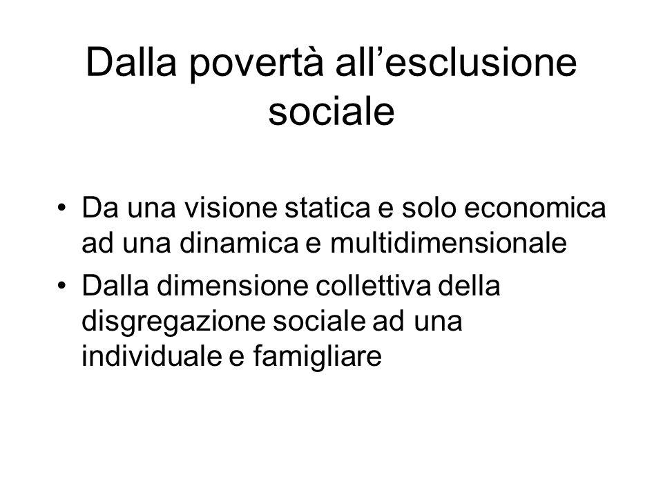 Dalla povertà allesclusione sociale Da una visione statica e solo economica ad una dinamica e multidimensionale Dalla dimensione collettiva della disgregazione sociale ad una individuale e famigliare
